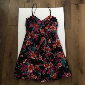 Billabong Women's Black Pink Floral Mini Dress